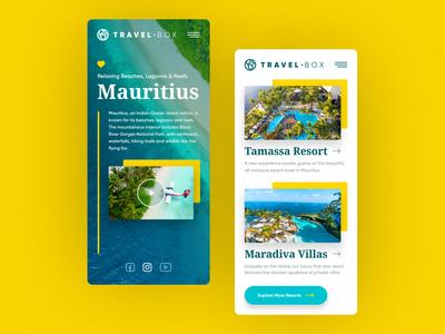 TravelBox Mobile vacations sea photos iphone phone mobile mauritius surf adobexd xd adobe web responsive ux website ui design drawingart