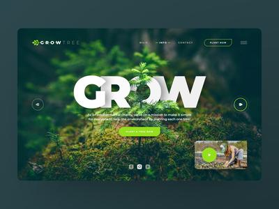 GrowTree header exploration download freebies freebie freexd free webdesign clean photoshop web responsive ux website ui design drawingart