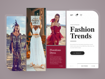 Fashion Trends trends fashion header exploration webdesign clean photoshop web responsive ux website ui design drawingart