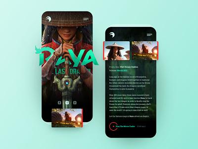 Raya Mobile mobile iphone concept exploration cartoon movie raya adobexd web responsive ux website ui design drawingart