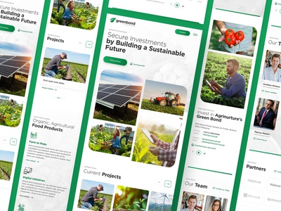 Greenbond Mobile digital local food grow green secure investment energy sustainable agriculture rural environment web responsive ux website ui design drawingart