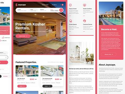 Joyscape Mobile hotel house rent host florida miami kosher rental vacation travel web responsive ux website ui design drawingart