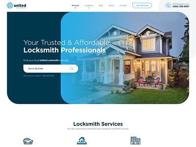 United Locksmith house car service united locksmith lock web responsive ux website ui design drawingart