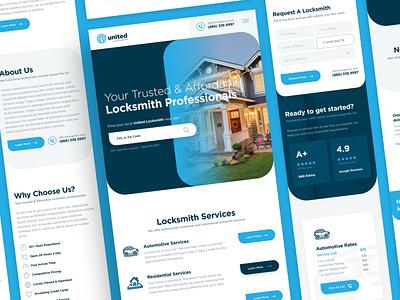 United Locksmith Mobile key locked house car locksmiths locksmith lock web responsive ux website ui design drawingart