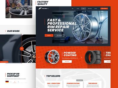 FelgenFix repair powdercoating rim wheel car illustration web responsive ux website ui design drawingart