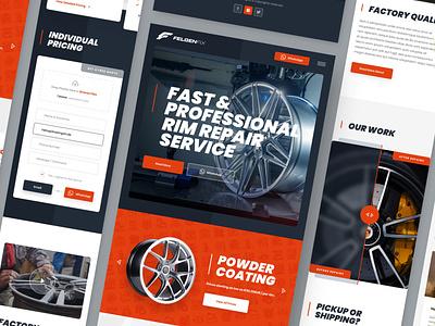FelgenFix Mobile repair powdercoating powder tire wheel rim web responsive ux website ui design drawingart