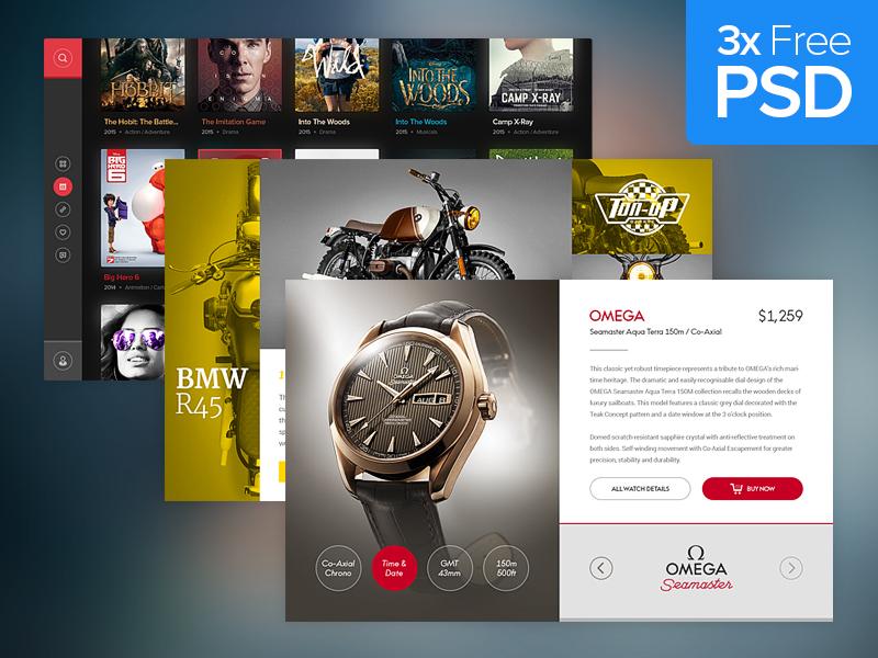 Free PSD: Widgets ui design photoshop download free freebie psd psddd movies watch drawingart