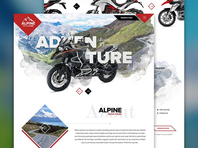 Alpine Moto Tours drawingart alpine moto tours trips motorbike motorcycle design ui ux website responsive