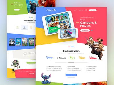 Disney Life minimal responsive colors clean ux ui webdesign web website life disney drawingart