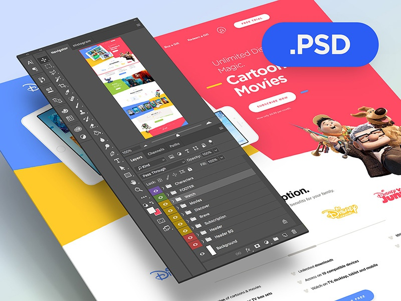 Disney Life - Free PSD photoshop psd free drawingart disney website web webdesign ui ux clean colors