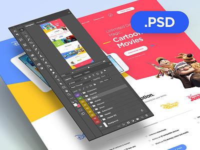 Disney Life - Free PSD photoshop psd free drawingart disney website web webdesign ui ux clean colors
