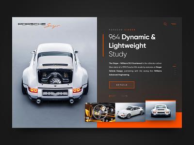 Porsche Singer 964 DLS header concept layout webdesign minimal clean photoshop web responsive ux ui website design drawingart