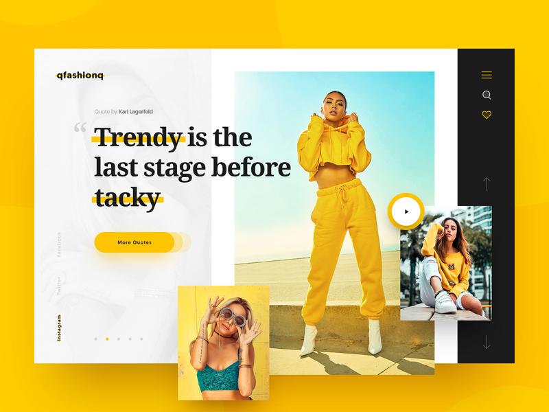 QfashionQ karl lagerfeld fashion exploration concept header layout webdesign minimal clean photoshop web responsive ui ux website design drawingart