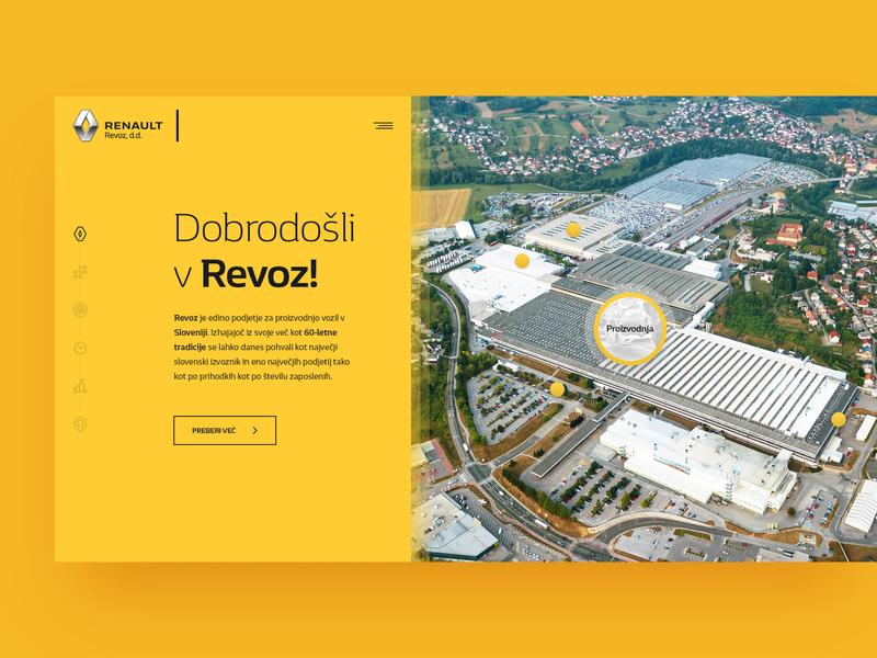 Revoz reno manufacturer car renault revoz layout webdesign minimal clean photoshop web responsive ui ux website design drawingart