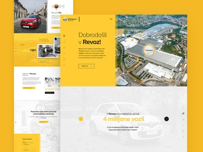 Revoz car cars manufacturer reno renault revoz layout webdesign minimal clean photoshop web responsive ui ux website design drawingart