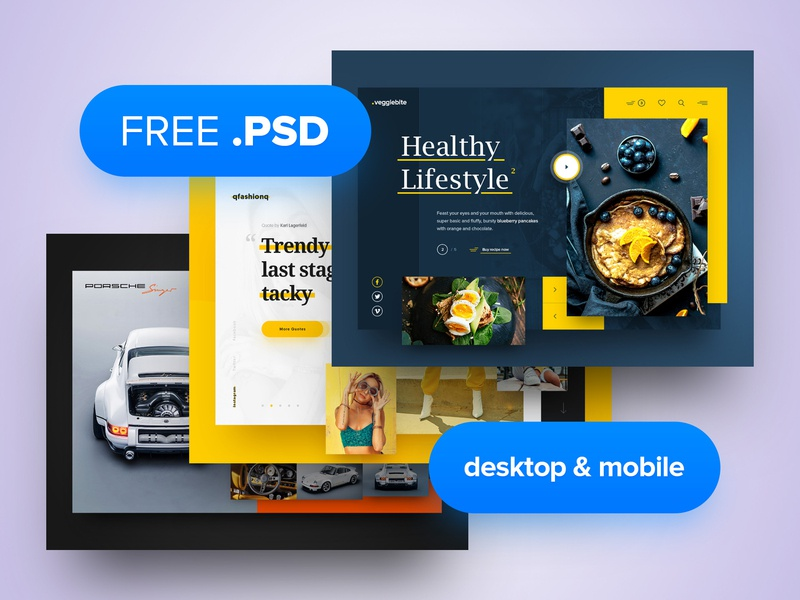 3x Free PSD psd freebie free psd free layout webdesign minimal clean photoshop web responsive ux website ui design drawingart