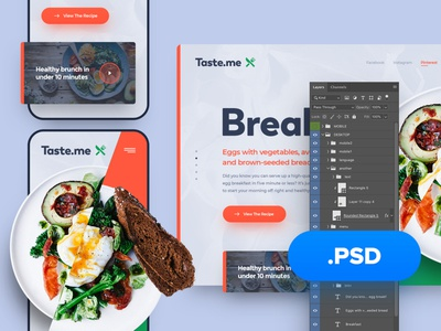 Taste.me PSD psd download exploration header psd mockup freebie free psd photoshop web responsive ux website ui design drawingart