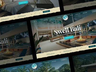 Swell Bali food kiting kite surfing surf friends socialize hotel resort bali layout webdesign photoshop web responsive ux ui website design drawingart