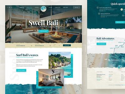 Swell Bali friends party kite surfing adventure hotel resort beach bali surf layout webdesign photoshop web responsive ux website ui design drawingart