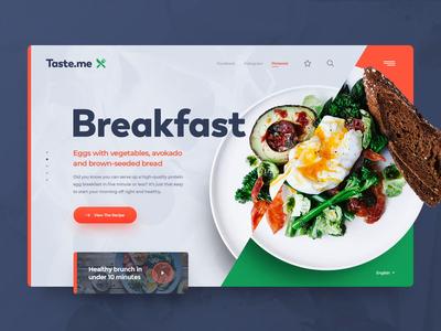 Taste.me Animation recipes food exploration header animation minimal clean photoshop web responsive ux website ui design drawingart