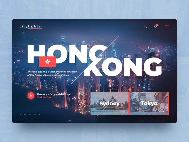 C I T Y L I G H T S . tokyo sydney traveling travel lights city hongkong concept header webdesign photoshop web ux website ui design drawingart