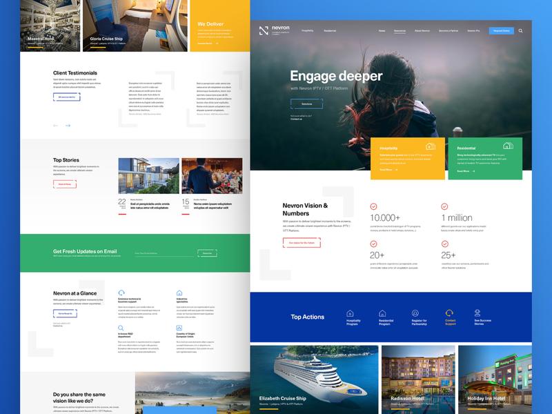 Nevron platform delivery content provider ip tv iptv minimal clean photoshop web responsive ux ui website design drawingart