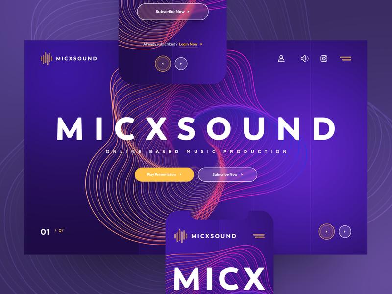 MICXSOUND layout webdesign photoshop drawingart mix mic sound production music uiux ux ui web design exploration header website