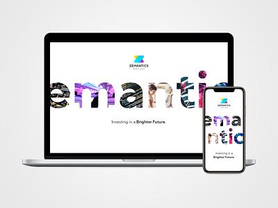 Zemantics Ventures Website typography investments businesscard website design website control business dashboard analysis technology minimal web ux design ui