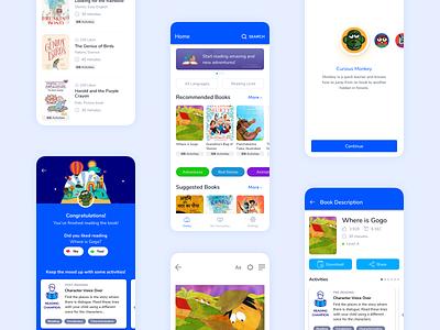 Reading App for Kids illustration childrens book reading book reading app design ux ui app