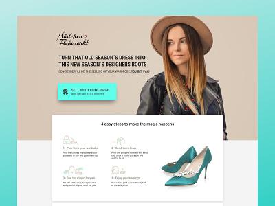 Fashion Landing Page fashion brand second-hand market ui ladning page fashion