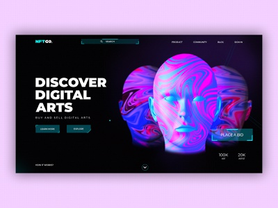 landing page for NFT. interface blockchain 2021 trending nft photoshop design uidesign uiux ui