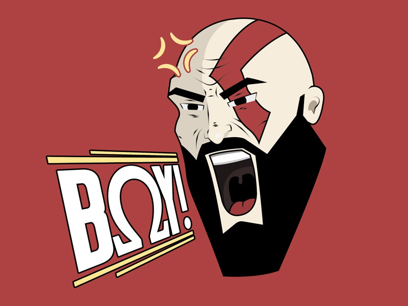 Angry God of War drawing video games graphic art god of war games character art vector illustration photoshop