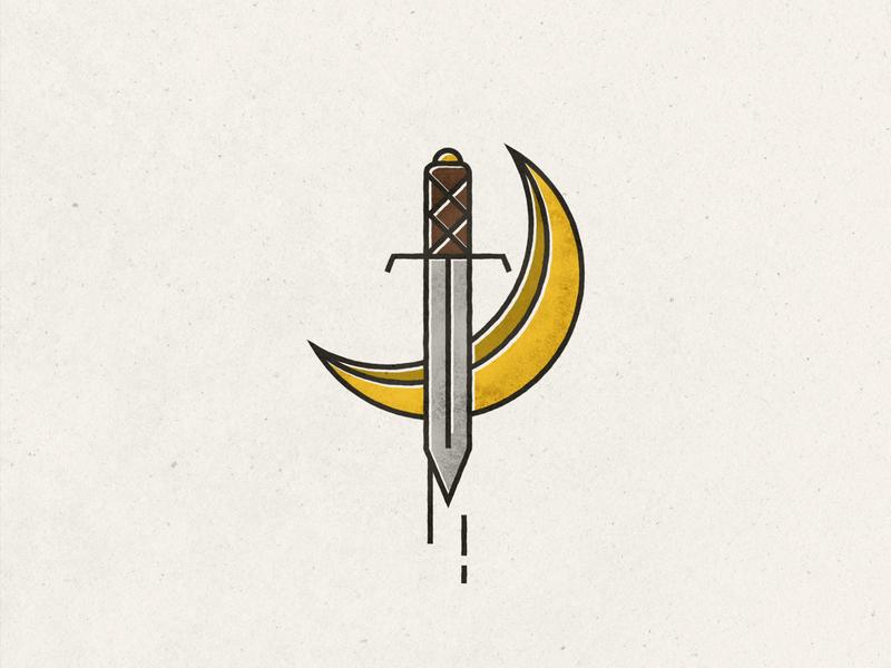 Moonblade texture sword dagger knife blade moon design vector distressed flat illustration