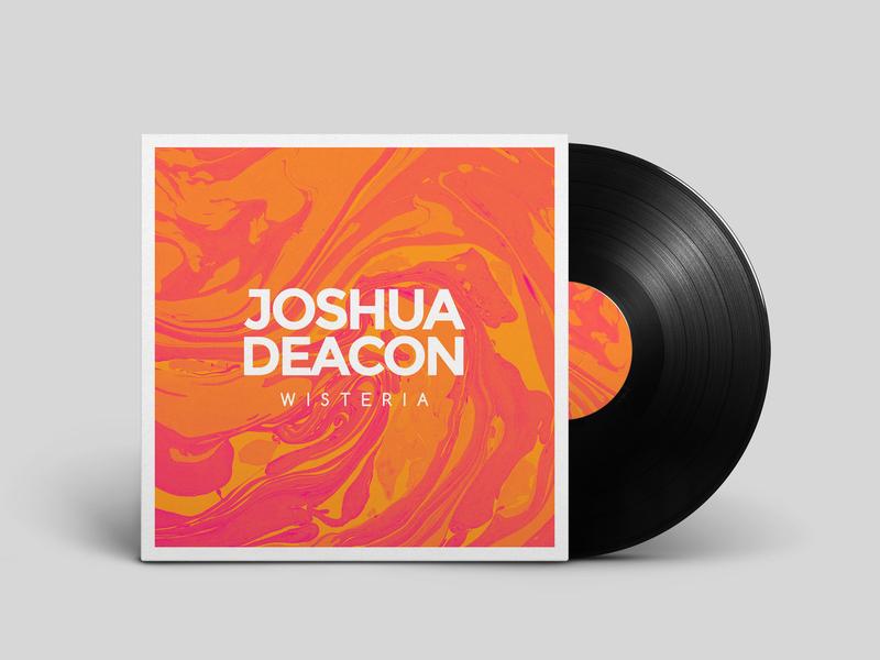 Joshua Deacon's Wisteria Album Cover Artwork solo drummer music photoshop cover art vinyl marble suminagashi djent album wisteria joshua deacon branding design
