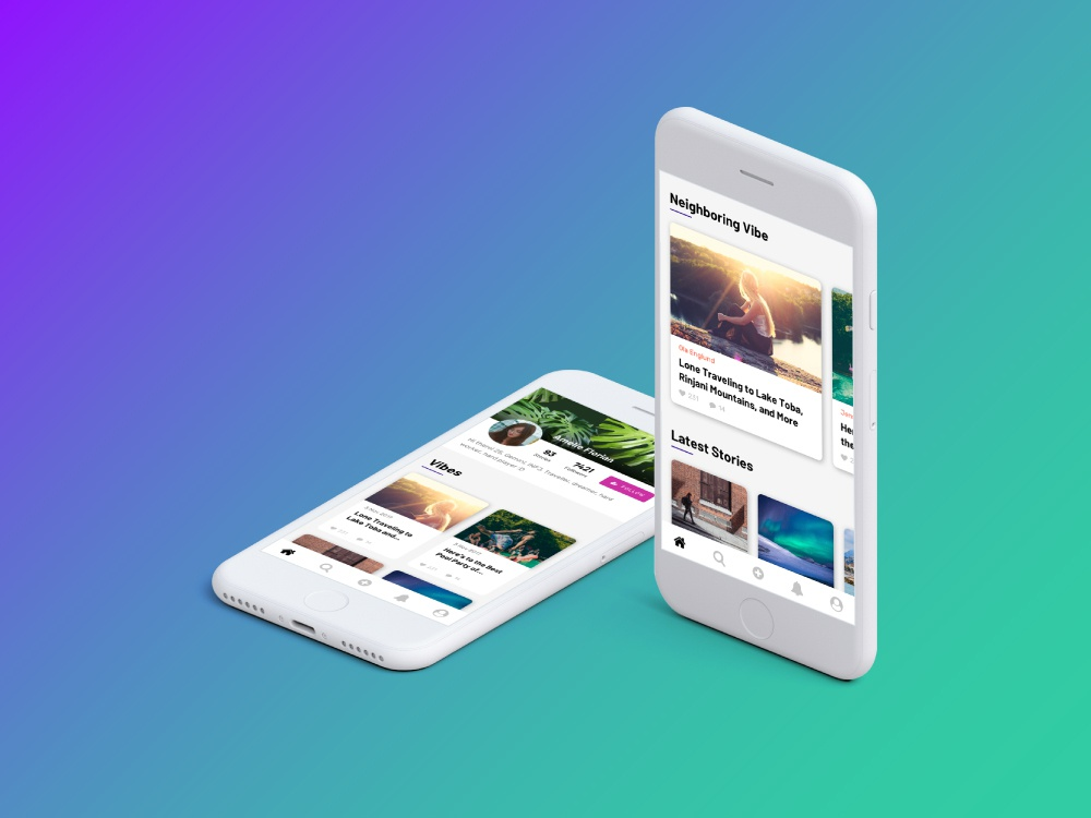 Vibe App User Interface Design colorful gradation gradient interaction design mobile app design mobile app ux ui deisgn naisu iphone ios android vibe app vibe