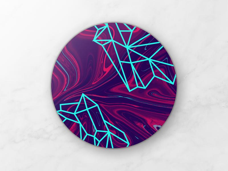 Marble Crystal Coaster giveaway competition contest mockup design mockup illustrator photoshop vector crystal swirl suminagashi marble coaster sticker mule