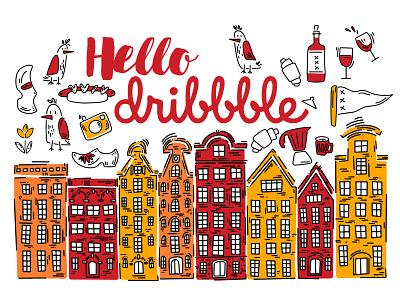 Hello dribbble! branding illustrations children book illustration childrens illustration minimal flat vector design illustration art amsterdam doodleart doodle artist illustration illustrator
