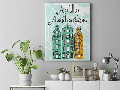 Hello Amsterdam! poster design poster art poster minimal illustration art illustration flat doodleart doodle design childrens illustration children book illustration amsterdam