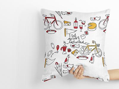 Pillow design cheese wine wine bottle bicycle illustration bicycle cute illustration cute art doodle art minimal amsterdam illustration vector illustration art childrens illustration children book illustration branding doodle doodleart pillow