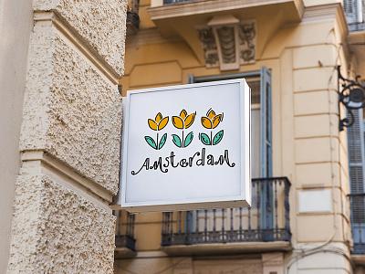Flower Store logo design doodle design logotype design logo design flower store flower logo tulip tulips flower shop icon doodleart illustration typography logo branding doodle childrens illustration children book illustration amsterdam