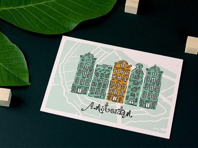 How about a little trip to the heart of the Netherlands? postcard design postcard european houses old european houses european architecture creative market collection flat illustration art doodleart amsterdam illustration doodle childrens illustration children book illustration netherlands city map travel guide doodle style