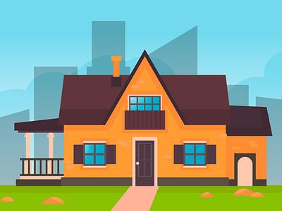 Suburb house design in flat style design cute adobe illustrator building house art vector illustration background flat cartoon