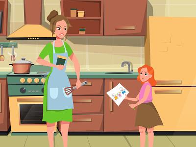Video episodes characters youtube episodes video interior kitchen sad girl child woman adobe illustrator argue family characters illustration design flatdesign art flat vector cartoon