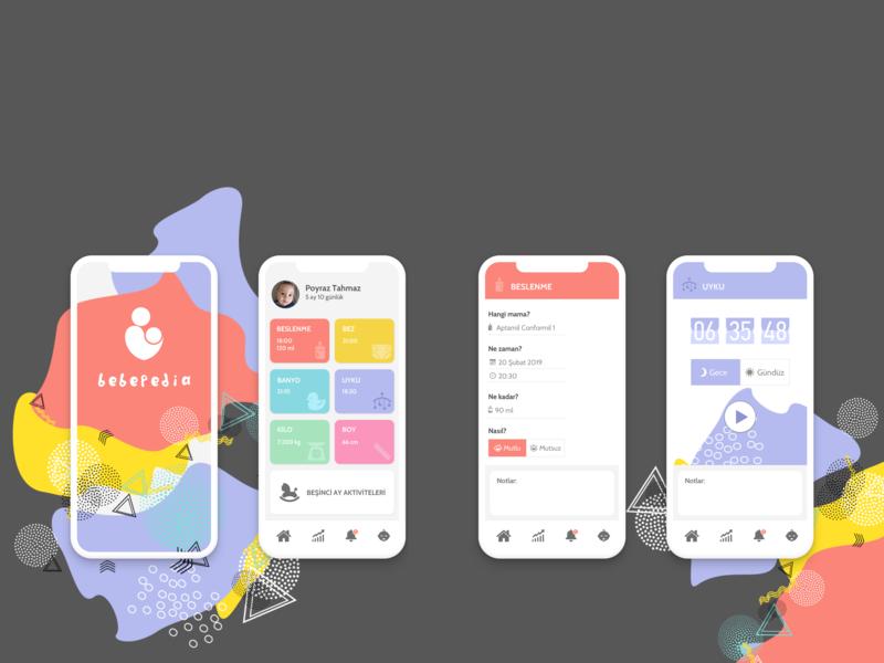 Baby Tracker Mobile App Design illustration app design ux ui