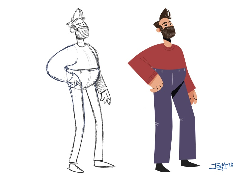 Self Portrait - Character Design Process cel 2d illustration character design photoshop