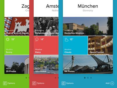 CitySwipe Concept munich amsterdam zagreb city sketch principle cards motion intercation