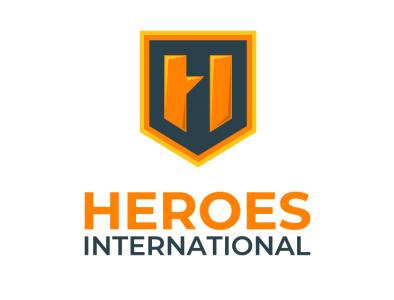 Heroes International draft logo super hero charity gold hidden message logo badge hero