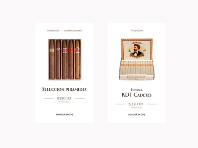 Product card cart shop card catalog e-comerce product cigars tobacco