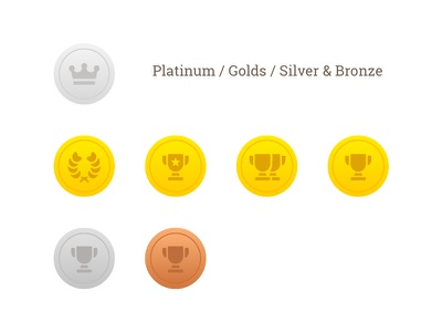 Awards for a wine project platinum silver bronze gold medals contest wine award ux vector ui icon flat
