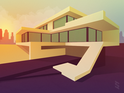 Modern House #1 architecture illustration modern city sunset house